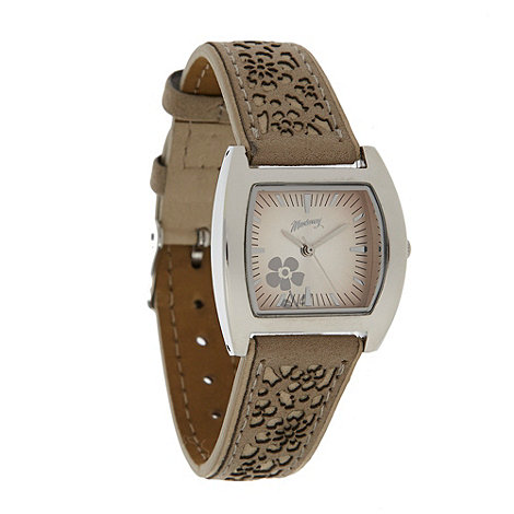 Mantaray - Ladies beige laser cut strap watch