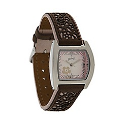 Mantaray - Ladies pale pink laser cut strap watch