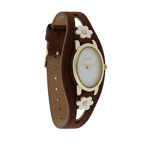Mantaray - Ladies brown flower cuff watch