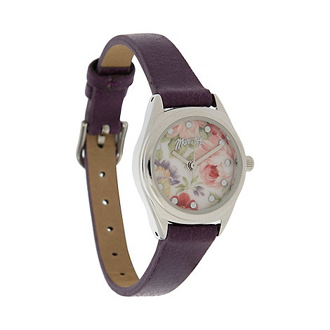 Mantaray - Ladies purple mini floral dial watch