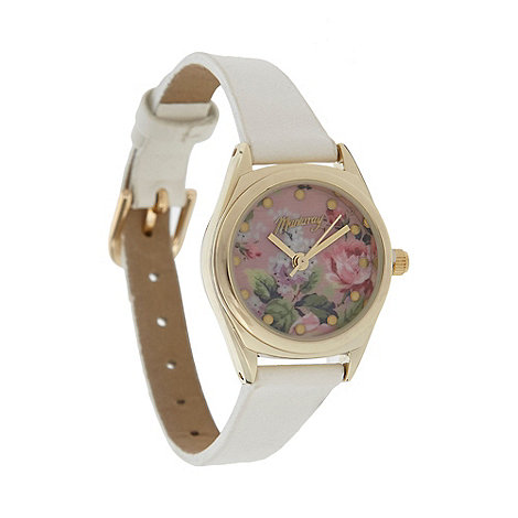 Mantaray - Ladies white mini floral dial watch