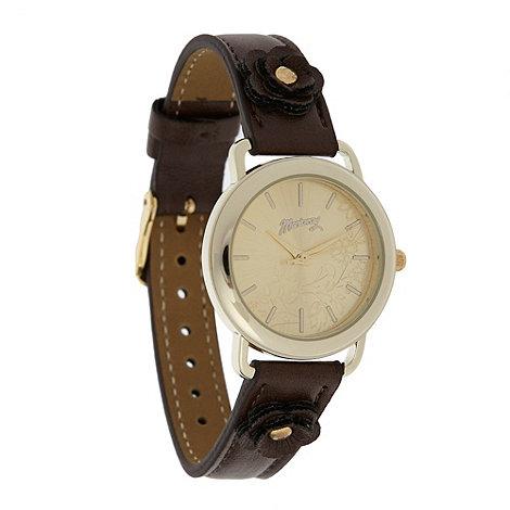 Mantaray - Ladies brown 3D flower watch