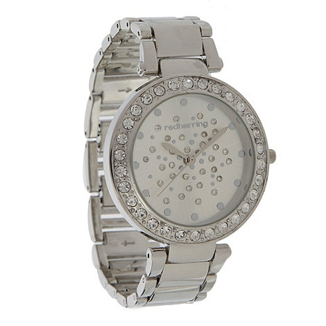 Red Herring - Ladies silver scattered diamante dial watch