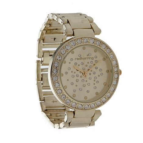 Red Herring - Ladies gold scattered diamante dial watch