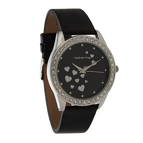 Red Herring - Ladies black scattered heart dial watch