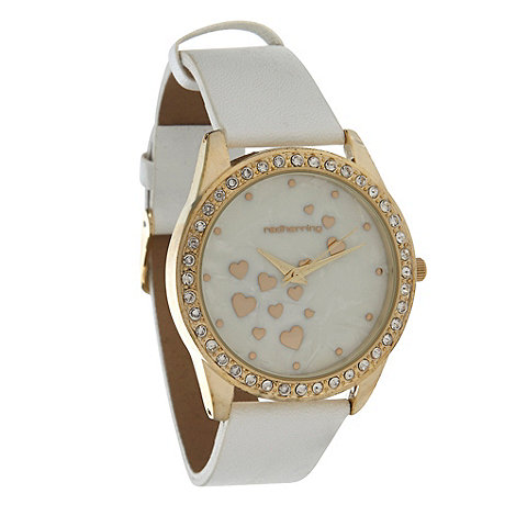 Red Herring - Ladies white mother of pearl watch