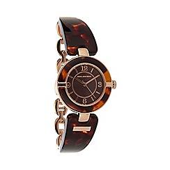 RJR.John Rocha - Designer ladies brown tortoiseshell lugs watch