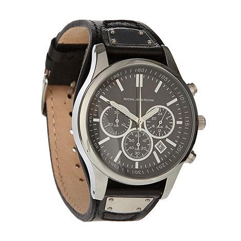 RJR.John Rocha - Designer men+s black chronograph dial leather strap watch