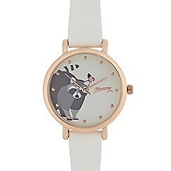 Mantaray - Ladies white raccoon print analogue watch