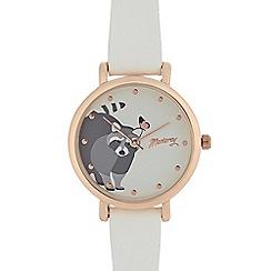 Mantaray - Ladies white raccoon print analogue watch