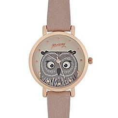 Mantaray - Ladies pink owl analogue watch