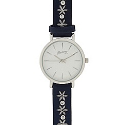 Mantaray - Ladies navy laser cut flower analogue watch
