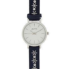 Mantaray - Ladies navy laser cut flower analogue watch