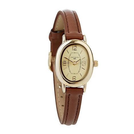 Infinite - Ladies brown oval dial skinny strap watch