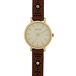 Mantaray - Ladies tan laser cut flower analogue watch