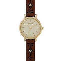 Mantaray - Ladies tan laser cut flower analogue watch