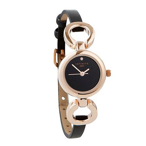Infinite - Ladies black chain lugs watch