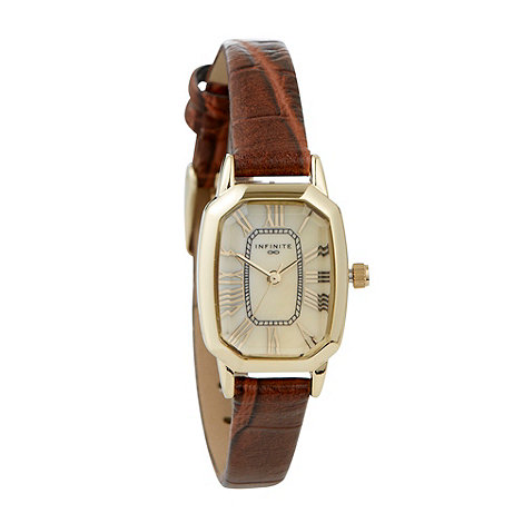 Infinite - Ladies brown octagonal dial mock-croc strap watch