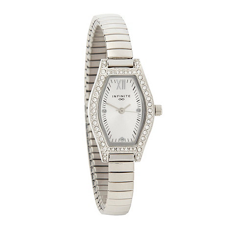 Infinite - Ladies silver pavi tonneau case watch