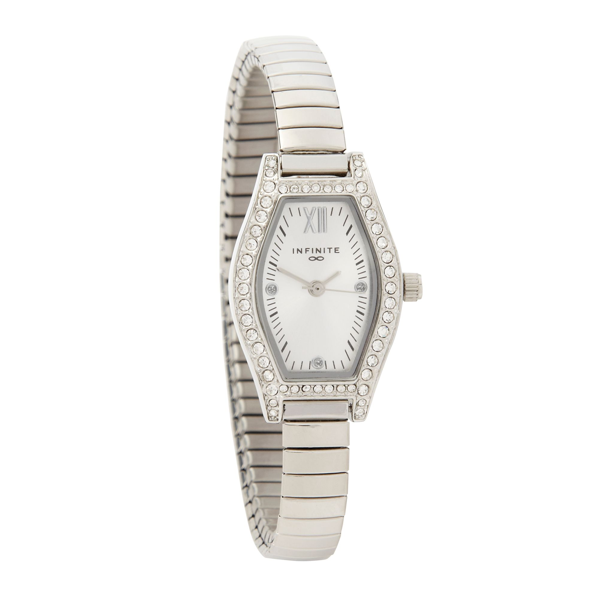 Infinite Ladies Silver Pavi Tonneau Case Watch From ...