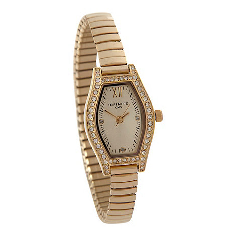 Infinite - Ladies gold pavi tonneau case watch
