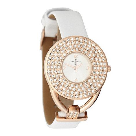 J by Jasper Conran - Ladies white round diamante wrist watch