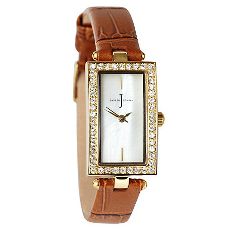 J by Jasper Conran - Ladies tan diamante wrist watch