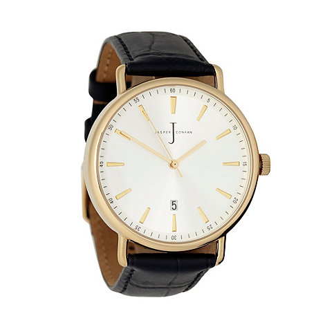 J by Jasper Conran - Men+s black +heritage+ leather wrist watch