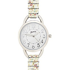 Mantaray - Ladies white floral stretch bracelet watch