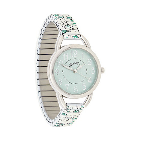 Mantaray - Ladies turquoise floral stretch bracelet watch
