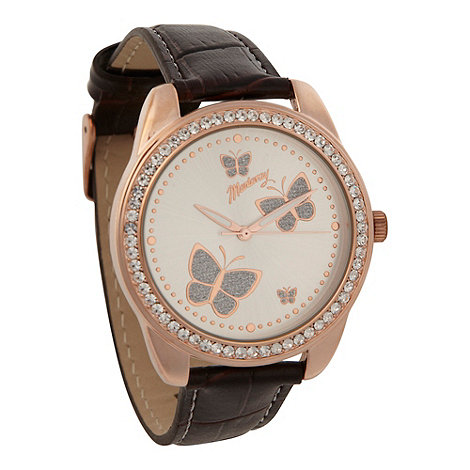 Mantaray - Ladies brown glitter butterfly mock-croc strap watch