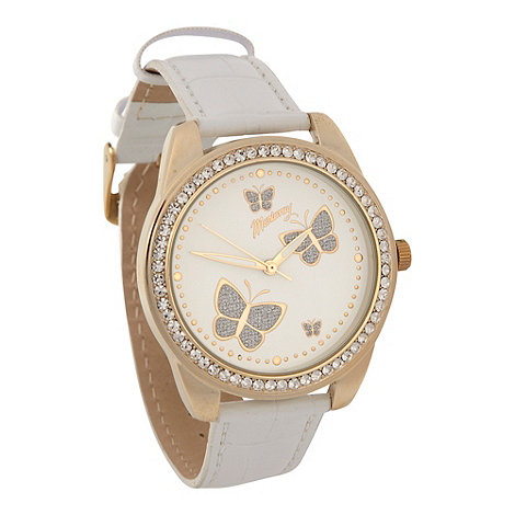Mantaray - Ladies white glitter butterfly mock-croc strap watch