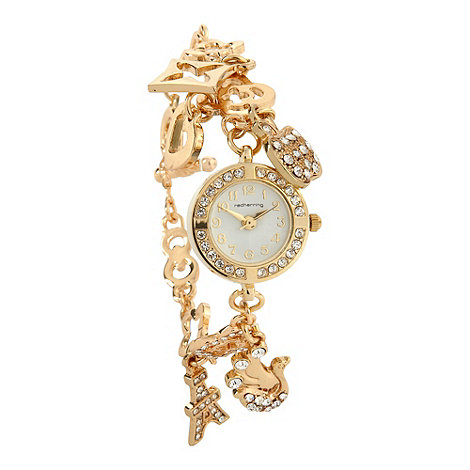 Red Herring - Ladies gold charm bracelet watch