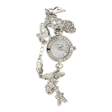 Red Herring - Ladies silver charm bracelet watch