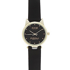 Floozie by Frost French - Ladies black cat case watch