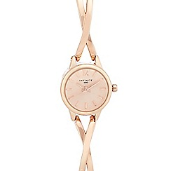 Infinite - Ladies' rose gold plated cross over analogue watch