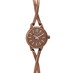 Infinite - Ladies' brown cross over analogue watch