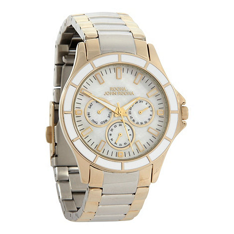 RJR.John Rocha - Ladies gold enamel bezelled mock-chronograph dial watch