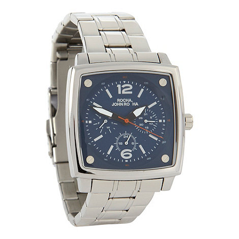 RJR.John Rocha - Men's silver riveted square multi dial watch