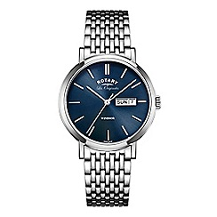 Rotary - Men's steel bracelet watch with blue dial