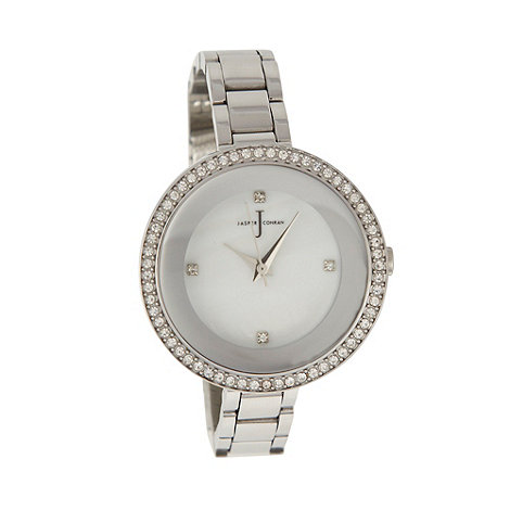 J by Jasper Conran - Ladies silver stone bezel watch