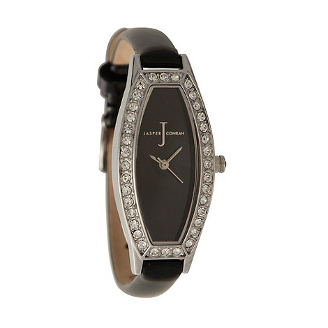 J by Jasper Conran - Ladies black slim tonneau dial watch