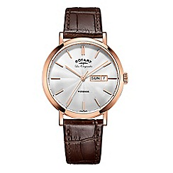 Rotary - Men's brown 'windsor' quartz leather strap watch