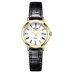 Rotary - Ladies black 'windsor' quartz leather strap watch