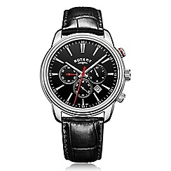 Rotary - Men's black chronograph leather strap watch