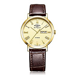 Rotary - Men's brown 'windsor' quartz leather strap watch