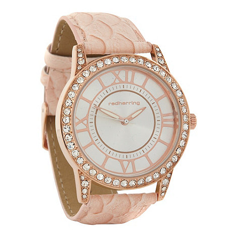 Red Herring - Ladies rose pavi bezel and lug watch