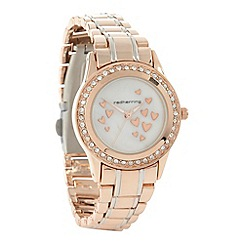 Red Herring - Ladies rose gold heart patterned mother of pearl dial watch