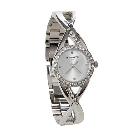 Infinite - Ladies silver crossover lug watch