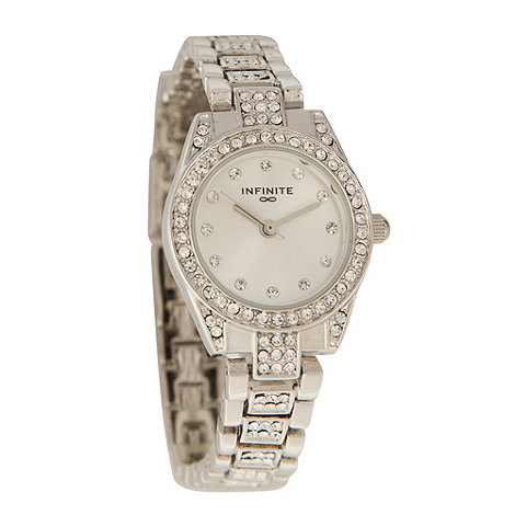 Infinite - Ladies white pavi tonneau case watch